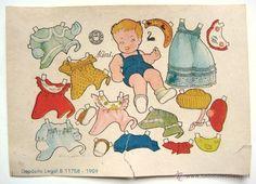 LAMINA RECORTABLE MUÑECAS. MIMI. ILUSTRACION ENRIQUETA BOMBON. EDITORIAL BRUGUERA AÑO 1959