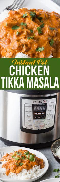 Easy to make instant pot chicken tikka masala, rich creamy tomato sauce, chunks of tender chicken and so much spice. Yum! #tikka #chickentikkamasala #chicken #instantpot #tikkamasala