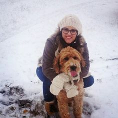 Reid the goldendoodle loves snow ice rain