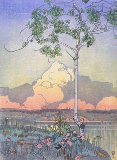 Walter Joseph Phillips (1884-1963) - Norman Bay, Lake of the Woods, No. 1. Woodblock Print. Circa 1920. 29.2cm x 21.3cm.