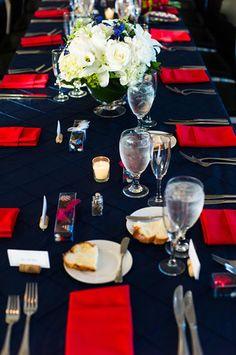 #red & black wedding tables ... Table Setting Black Red Wedding, Gold Wedding, Dream Wedding, Black Wedding Invitations, Wedding Invitation Inspiration, Diy Wedding Decorations, Wedding Ideas, Twilight Wedding, Best Friend Wedding