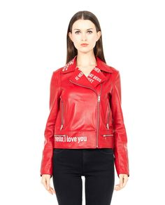 FIFTEEN AND HALF SOFT LEATHER BIKER JACKET S/S 2016 Red soft leather biker jacket  reverse collar asymmetric front closure with zipper  long sleeves with real zip  front pockets  100% Sheep leather