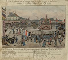 The Execution of Maximilien Robespierre. N.B.: The beheaded man is not Robespierre, but Couthon; the body of La Bas is shown lying on the ground; Robespierre {#10} is shown sitting on the cart closest to the scaffold, holding a handkerchief to his mouth.