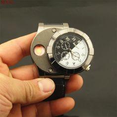 New Military Men Wristwatches Windproof Flameless Cigarette Lighter Watch USB Charging Sports Clock Men Quartz Watch Militar D7 #Affiliate