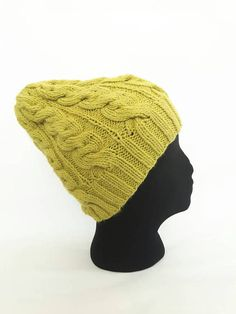 8d4e364045d Hand knit cable hat knitted winter hat merino wool beanie Cable Knit Hat