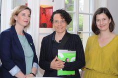 Nicole Landeck (Gatzanis Verlag), Adrienne Braun (Moderation), Holle Nann (Hrsg. G:sichtet 2, KUNST SAMMELN)