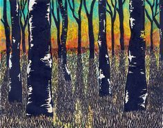"""""""Sunset"""" Monoprint: Lino & Chine-Colle, mixed media. 2012., via Flickr."""