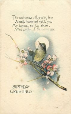 Tuck Pretty Little Bird on Branch Antique Greeting Postcard New Year Greetings, Christmas Greetings, Birthday Greetings, Birthday Wishes, Decoupage, Bird On Branch, Vintage Postcards, Pretty Little, Moon