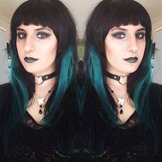 Orphea modelling Lunatik Hair Dye Absinthe with matching makeup. Darkly beautiful!