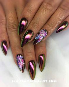 Fabulous Chrome Nails You Must Try 33 Pretty Chrome Nail Art Designs 2019 you've seen the chrome nails trend rock the web for the past few months. Chrome Nails Designs, Chrome Nail Art, Nail Art Designs, Stiletto Nails, Crome Nails, Nail Art Halloween, Manicure, Nagellack Trends, Metallic Nails