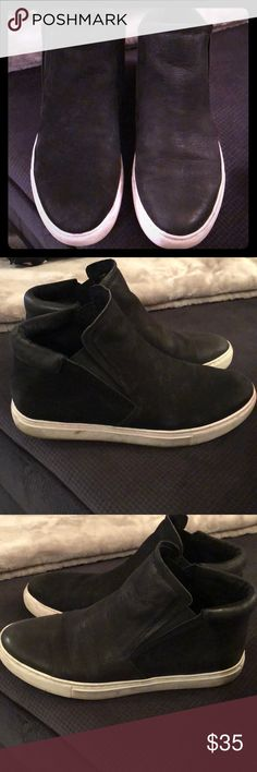 Pre-loved Kenneth Cole black leather slip ons! Black leather high top slip ons .. style : KALVIN size Womens : 6.  Extremely comfortable and wear shown in pictures. Reasonable offers welcome :) Kenneth Cole Shoes