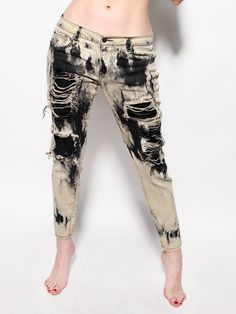 ZEF2DEATH Destroyed recycled jeans with stretch by ZEF2DEATH