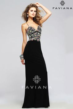 S7718 Black Bead Detailing Faviana Glamour with open back  - Prom Dresses at Hope's Bridal