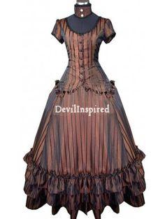 Vintage Brown Striped Steampunk Dress