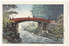 Shinkyo Bridge, Nikko, 1937 by Tsuchiya Koitsu (1870 - 1949); Japanese woodblock print................ ukiyoe japan decoration antique fineart home decor collectible japanese woodblock print handmade home art beautiful decorative etching illustration traditional woodcut