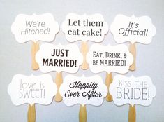 Items similar to 8 Wedding Photo Props - Wedding Sign Props - Wedding Photo Booth Signs on Etsy Wedding Photo Props, Photo Booth Props, Wedding Photos, Wedding Ideas, Wooden Fan, Polaroid Frame, Love Is Sweet, Just Married, Wedding Signs