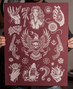 """""""American Traditions"""" is inspired by the traditional tattoo flash sheets found in tattoo shops across the country. This series is limited edition signed and numbered prints. Make sure to check out my etsy shop for detials."""