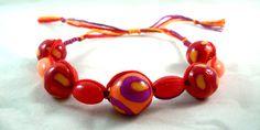 Hippy Boho Chic Red Orange Tribal Beaded Micro Macrame Friendship Bracelet by HeartMesaGifts