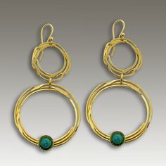 Circles of Light  EP2162G  ~~~~~~~~~~~~~~~~~~~~~~~  This is a pair of chandelier round earrings made of 24k plated gold and turquoise stones. This