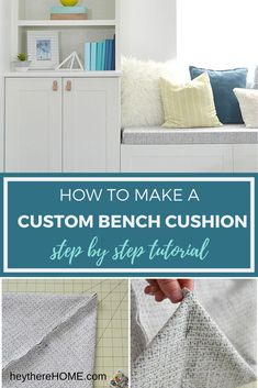 DIY bench seat cushion tutorial - it's easy to update or upholster a bench seat cushion for any bench or window seat with the fabric of your choice. Click through to find the full tutorial! Diy Home Furniture, Diy Outdoor Furniture, Diy Home Decor, Lawn Furniture, Room Decor, Cushion Tutorial, Diy Cushion, Cushion Covers, Window Seat Cushions