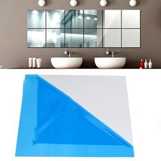 1 x mirror wall sticker ( Thickness: ). Mirror Tile Wall Sticker Square Self Adhesive Room Decor Stick On Modern Art. Note: blue protective film on the surface, pulling the protective film that is visible mirror effect.