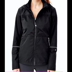 GapFit all-weather running jacket, black XL Condition: Like new, worn once.  Excellent like new condition.    Fabric: 100% Polyester Front zip closure.,Zippered on-seam side pockets. Straight silhouette with an easy, relaxed fit. Hits below the hips. GAP Jackets & Coats