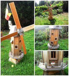 Wooden Homemade Garden Windmill