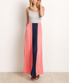 Look at this #zulilyfind! Navy & Pink Color Block Maxi Dresss #zulilyfinds