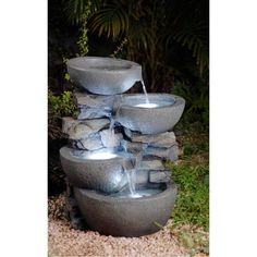 This fountain features a white led lights that makes it very attractive at nigh. Water flows from the top bowls to the bottom bowl, and with minimal noise production, this fountain is great for outdoor or enclosed spaces.