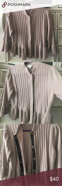 Delicate feminine cardigan, by Edina Ronay London. Puffed shoulder, bell sleeve 50% wool, 40% nylon 10% angora. United Kingdom size 16 is a 12/14 USA by designer Edina Ronay of London. Beautifully made. Edina Ronay Sweaters Cardigans