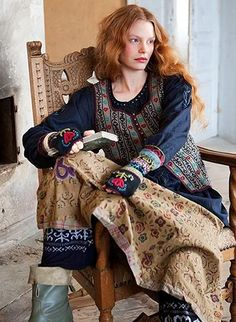 Buttercup Bungalow: Gudrun Sjoden. A navy peasant blouse and vest could look very cute with jeans