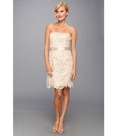 adrianna papell strapless lace sheath dress freesia | ivo hoogveld