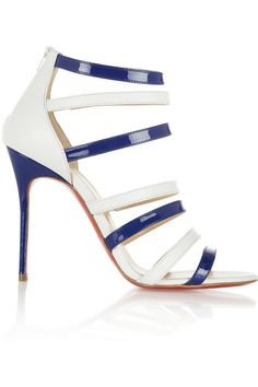 Christian Louboutin | Mariniere 100 leather and patent-leather sandals | net-a-p...