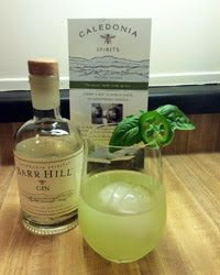 Green Bumble Bee 3 oz of Barr Hill gin 3 slices of fresh jalapeno 5 fresh basil leaves 1/2 a lemon, juiced 1 tsp. of raw honey simple syrup