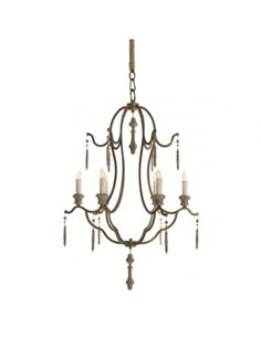 This intricate iron chandelier is sprinkled with sophisticated accents for an ornate, eclectic six light centerpiece. Antique gold embellishes the delicately designed arms. Candelabra lights add a rustic touch to this romantic French country fixture. French Chandelier, Candle Chandelier, Candelabra, Lighted Centerpieces, Iron Chandeliers, Gold Light, 5 W, French Country Decorating, Chandelier Lighting