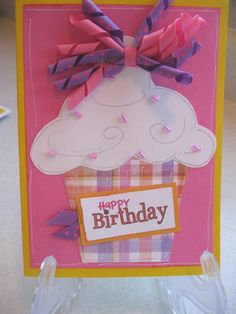 "Cute, handmade card with ""Sprinkles"" on top of the cupcake.  The SPRINKLES are a little girls hairbow!  CUTE"