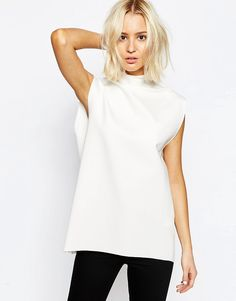 Image 1 of Weekday Clean Edge High Neck Sleeveless Top