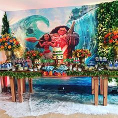 Check the floor out Moana Theme Birthday, Moana Themed Party, Moana Party, 2nd Birthday, Birthday Parties, Birthday Ideas, Party Kit, Art Party, Luau Party