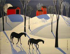Sold! $79.00 Original Painting Folk Art Landscape Winter Snow Horses Red Barn Moon Shadows   eBay
