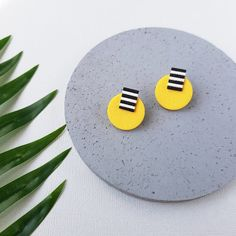 Small earrings Stud polymer clay earrings   Etsy Yellow Earrings, Small Earrings, Earrings Photo, Polymer Clay Earrings, Ear Studs, Clay Crafts, Etsy Earrings, Jewelry Crafts, Apothecary