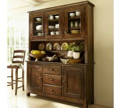 Benchwright Buffet & Hutch - Rustic Mahogany stain | Pottery Barn Saving for this lovely piece to add to my house.