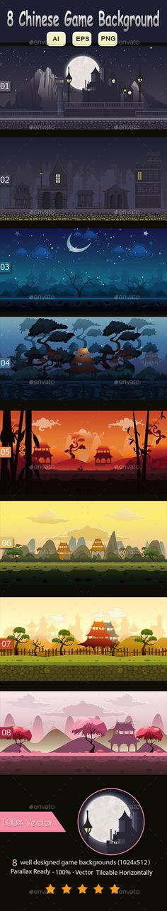8 Chinese Game Background — Vector EPS #platformer #asset • Download here → https://graphicriver.net/item/8-chinese-game-background/9835319?ref=pxcr