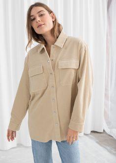 b677e3bb047d46 Model front image of Stories oversize corduroy workwear shirt in beige  Beige Shirt