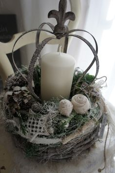 An Advent wreath arrangement with nostalgic charm …. On a rustic white background - Xmas - Christmas Silver Christmas, Christmas Candles, Rustic Christmas, Christmas Diy, Christmas Wreaths, Christmas Decorations, Holiday Decor, Holidays And Events, Happy Holidays