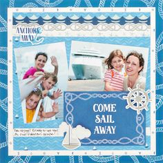 The Deep Blue Sea collection launched in May and it generated a tidal wave of design motivation. Get ready to ride that wave with this beautifully beachy scrapbook layout itll have you surfing over to your scrapbooking supplies before you know it! Cruise Scrapbook Pages, Beach Scrapbook Layouts, Vacation Scrapbook, Vintage Scrapbook, Diy Scrapbook, Scrapbook Supplies, Scrapbooking Layouts, Scrapbook Organization, Scrapbook Templates