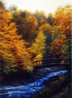 Surrounded by the brilliant colors of fall, this stream moves quickly over the rocks and under a scenic wooden bridge. Another beautiful print by award winning artist Charles White. This open edition