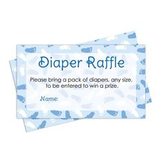 Diaper Raffle Tickets Boy Baby Shower Games - Blue Boy Theme (25 Cards)