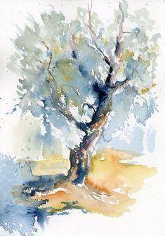 Tree Watercolor Painting, Watercolor Sketchbook, Watercolor Landscape Paintings, Abstract Watercolor, Watercolor Illustration, Landscape Art, Watercolor Flowers, Bird Paintings, Indian Paintings