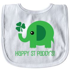 Happy St Patricks Day elephant Baby Bib White $8.99 www.homewiseshopperkids.com