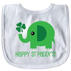 Happy St Patricks Day elephant Baby Bib White $8.99 www.homewiseshopperkids.com